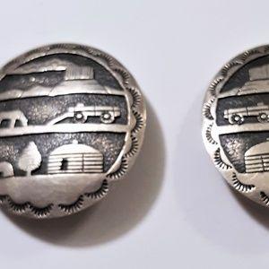 Vintage Sterling  Navajo Scenic Clip Earrings